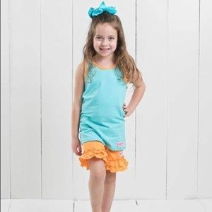 Ruffle Girl Aqua Tank & Orange Ruffle Short Set